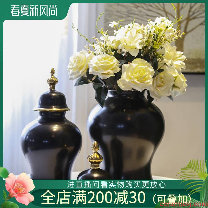 Jingdezhen ceramic vase living room TV cabinet decoration of new Chinese style furnishing articles household soft outfit decoration flower implement simulation flowers
