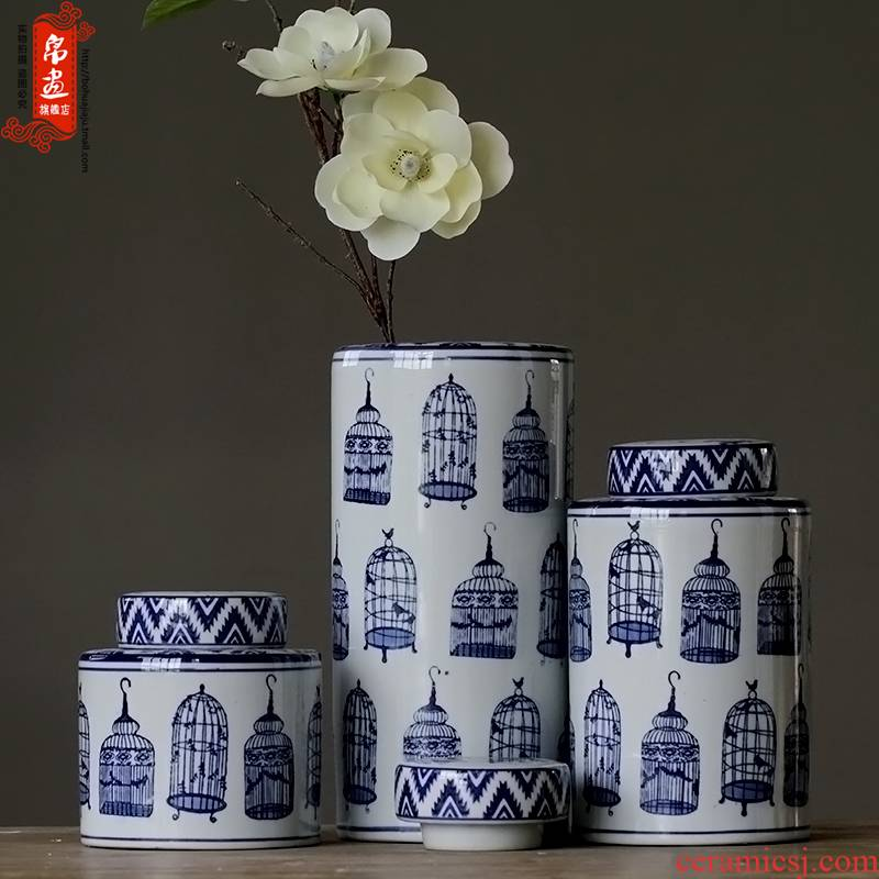 The sitting room porch ark place jingdezhen blue and white porcelain home decoration drum example room decoration ceramic pot
