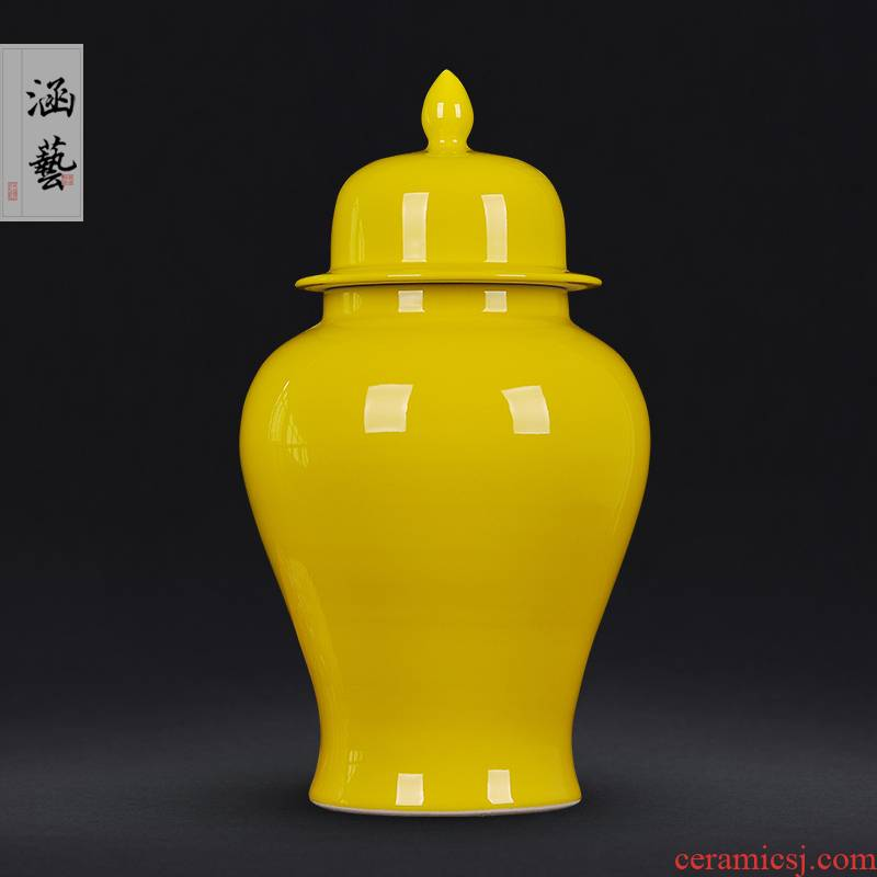 Pure color of jingdezhen ceramics vase the general pot of flowers in the sitting room porch Chinese style household adornment handicraft furnishing articles