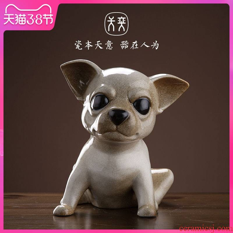 The chihuahua Wilson of jingdezhen day furnishing articles home sitting room indoor soft adornment ceramics handicraft express it in dog