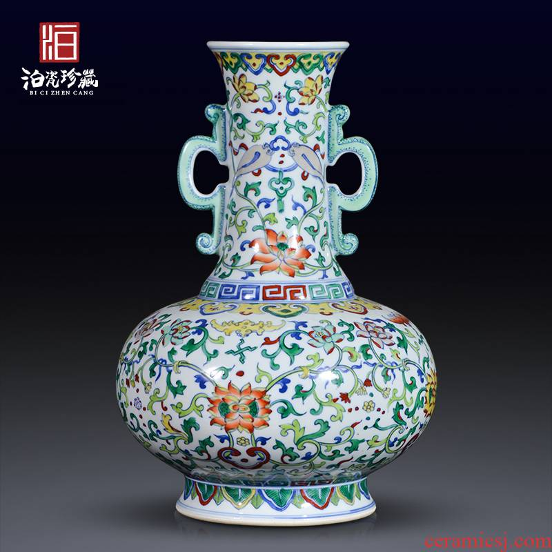 Jingdezhen ceramic imitation the qing yongzheng color bucket ears flower vase porch decoration of Chinese style household furnishing articles