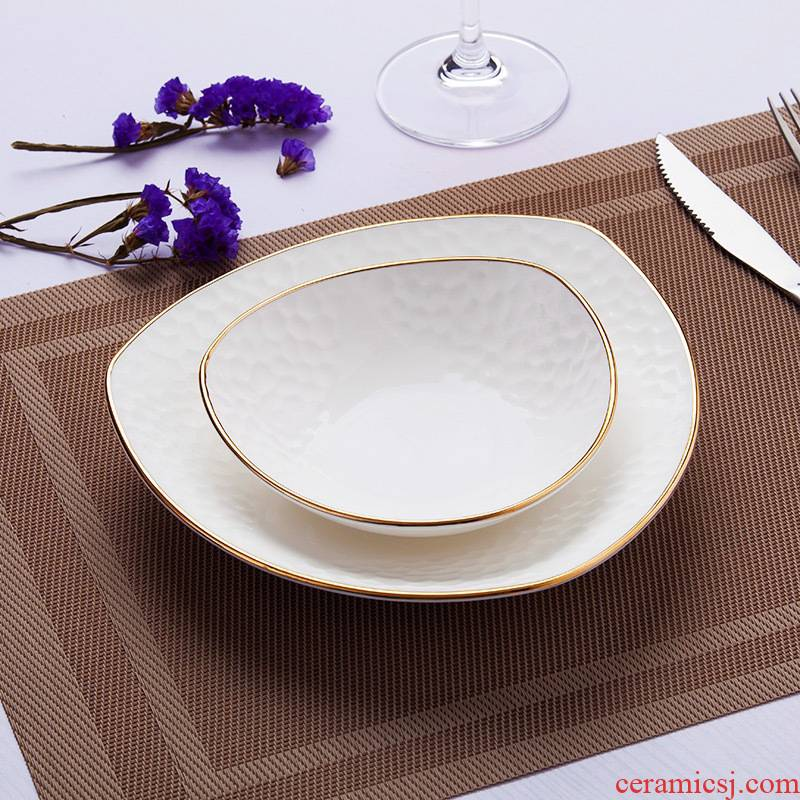 Jingdezhen ceramic tableware by hand paint edge embossed ceramics dishes dishes European household triangle dish bowl