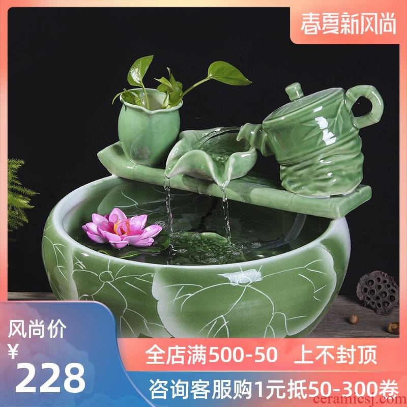 Package mail jingdezhen ceramic aquarium goldfish bowl lotus cylinder tortoise ceramic creative fish goldfish bowl aquarium