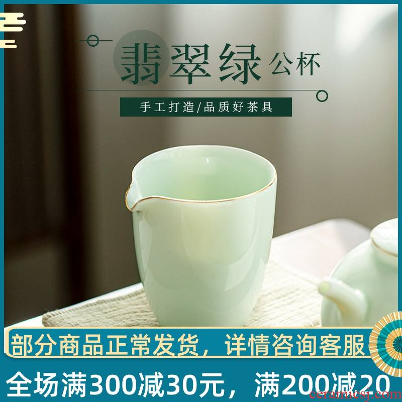 Gather the tea taking scene emerald green tea ware jingdezhen ceramic fair keller points Japanese large kung fu tea tea cup