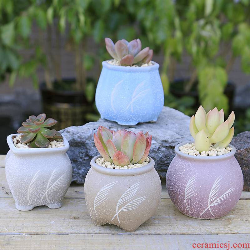 Fleshy ceramics ancient small cylinder breathable old running the flowerpot Chinese wind restoring ancient ways classical miniature potted green plant flower POTS