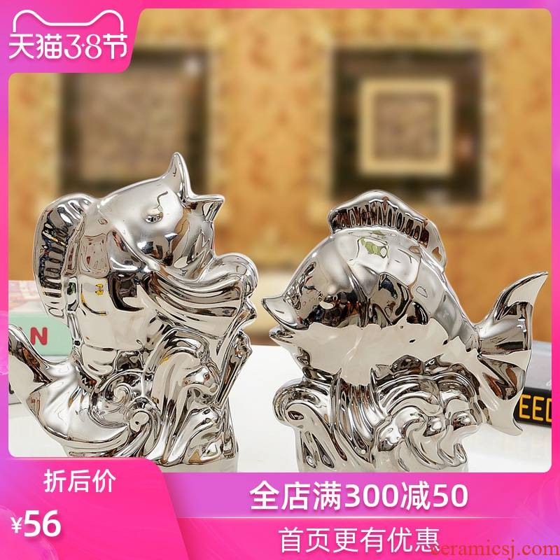 Household act the role ofing is tasted the modern ceramic handicraft creative furnishing articles sitting room adornment wedding gift of gold and silver sea fish