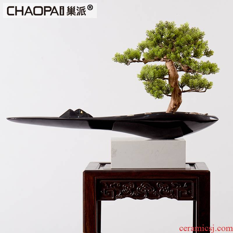 New Chinese style water simulation guest - the greeting pine wood rockery miniascape of I sitting room study landscape ceramic marble furnishing articles