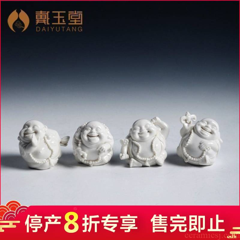 Dehua white porcelain production is pulled from the shelves 】 【 Q version of small smiling Buddha maitreya Buddha vehicle household decorative furnishing articles