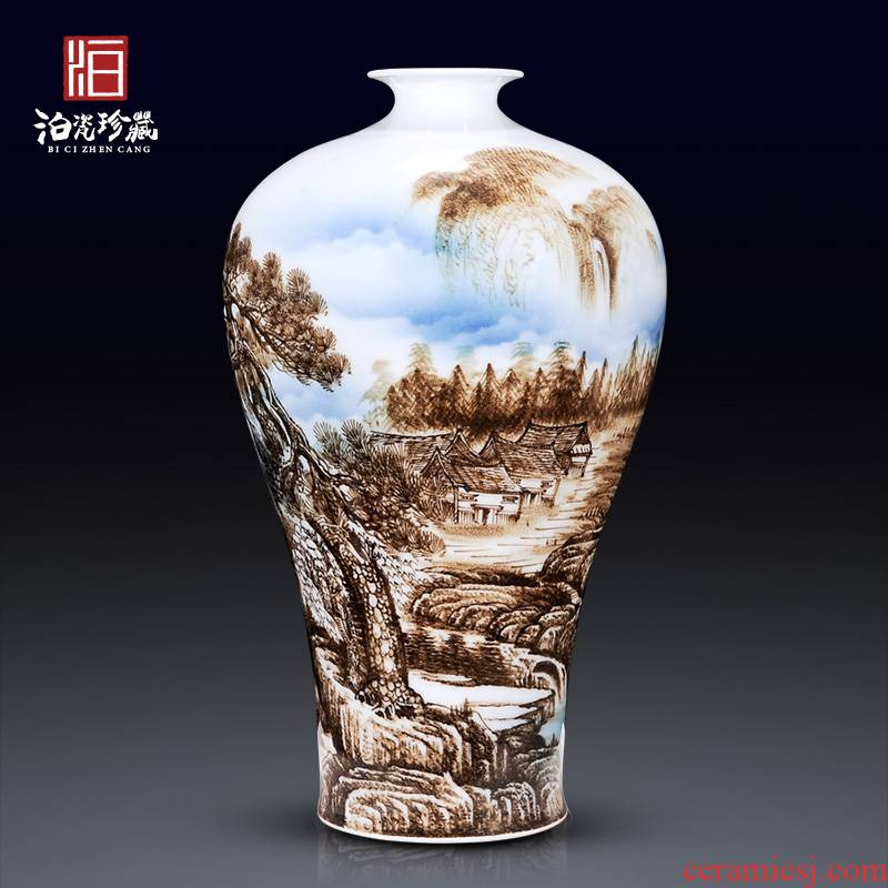 Jingdezhen blue and white porcelain manual hand - made vases, new Chinese style is I sitting room is placed in dry flower adornment ornament