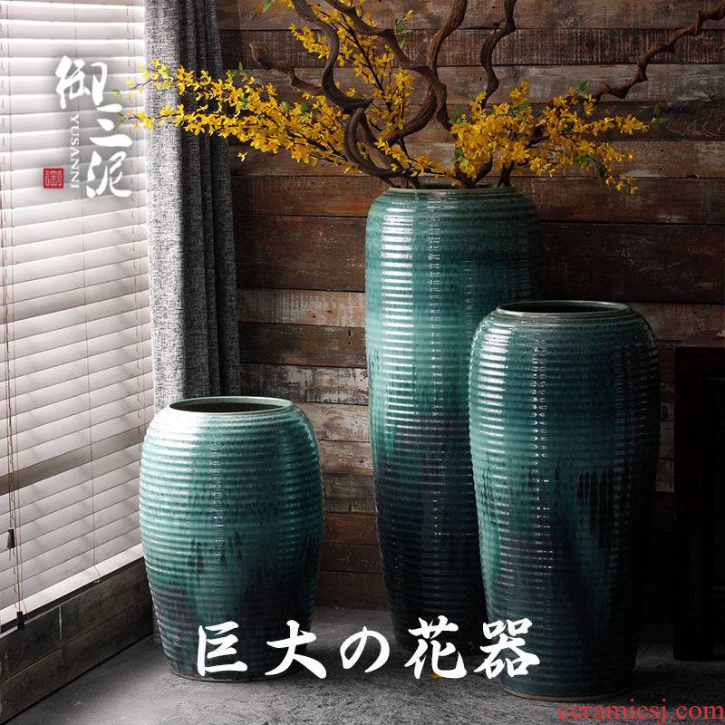 Large ceramic floor vase combination dried flower simulation flower furnishing articles sitting room decoration stores, villa and courtyard of the big flower pot