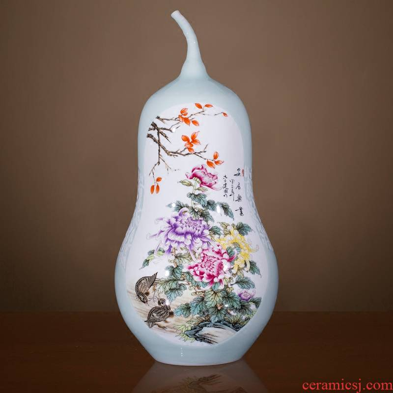 Jingdezhen chinaware bottle gourd big vase peony new Chinese style household hotels sitting room adornment high landing place