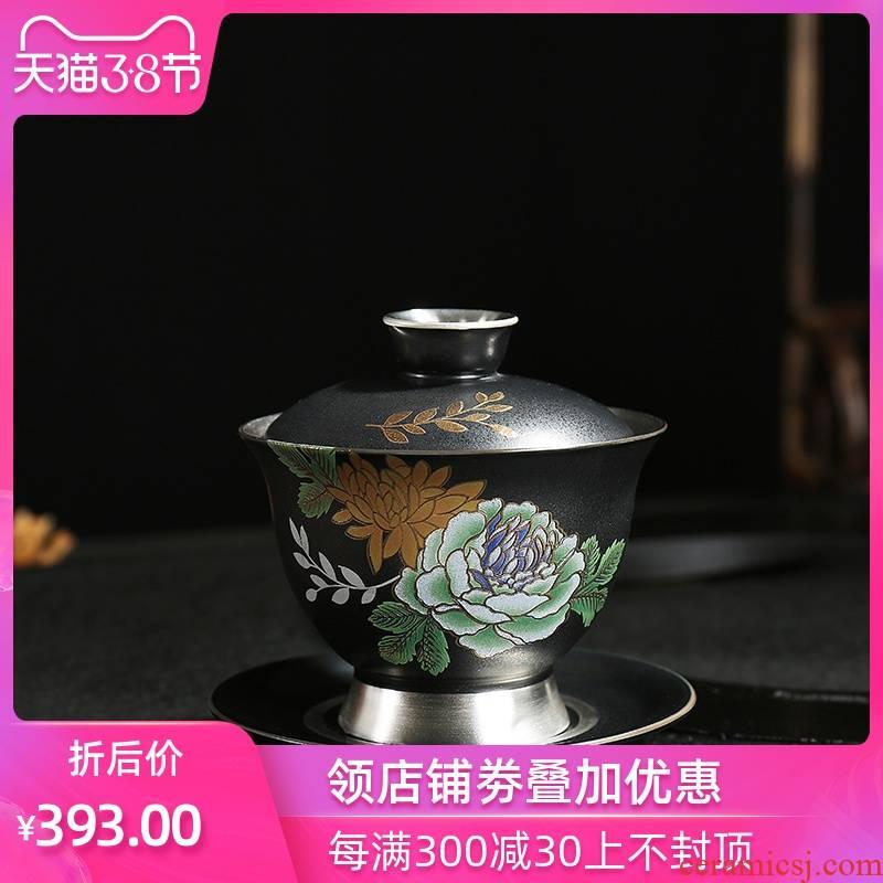 Kung fu tea tea tasted silver gilding craft operators to make tea tureen ceramic bowl on flower process large bowl to bowl