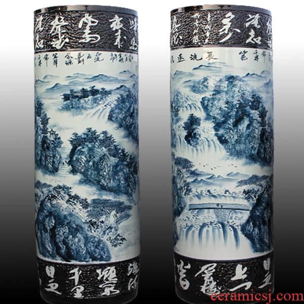 Antique hand - made e052 jingdezhen ceramics painting landscape quiver of large vases, classical sitting room adornment