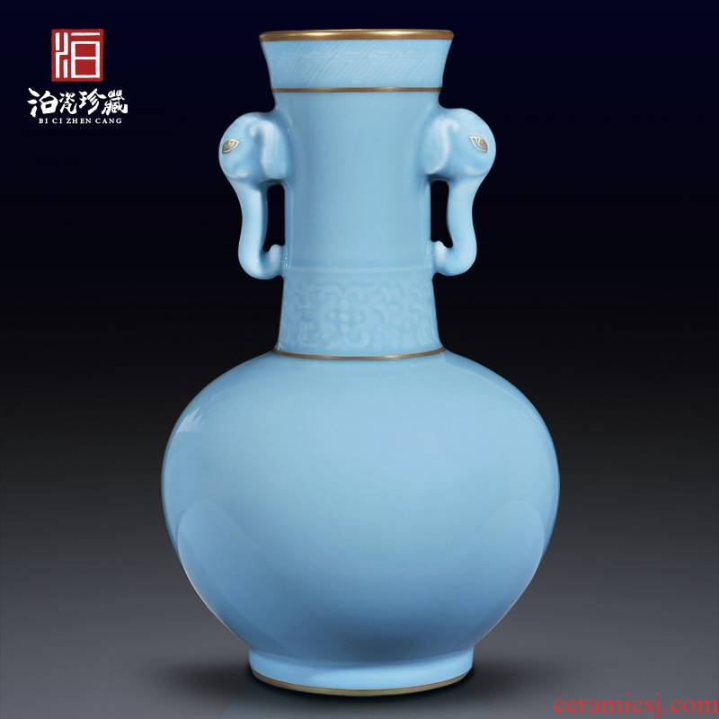 Archaize of jingdezhen ceramics powder blue glaze vase porch bedroom living room table decorations of Chinese style household furnishing articles