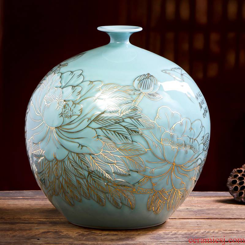 The Master of jingdezhen ceramic vase hand - made shadow blue paint new Chinese style household adornment flower arrangement China sitting room