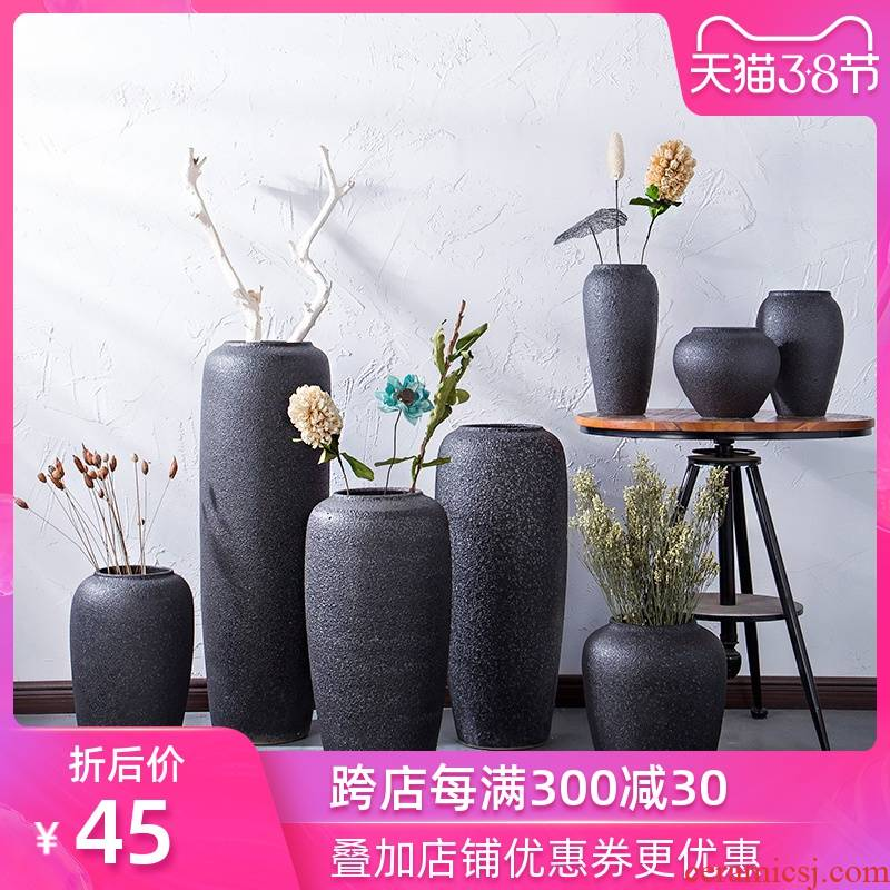 Jingdezhen ceramic black ground coarse pottery vases, I and contracted sitting room of dried flowers flower arrangement furnishing articles manually basin of restoring ancient ways