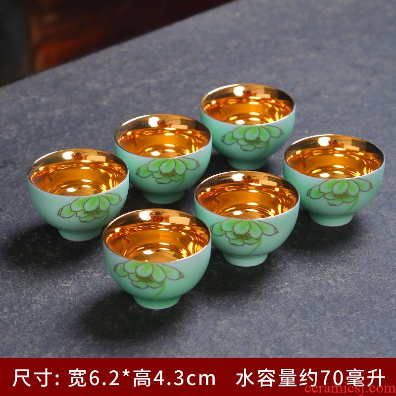 999 coppering. As small bowl silver sample tea cup silver cup kung fu fine silver cup ceramic tea light household