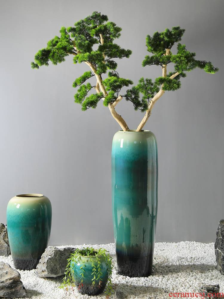 The New Chinese jingdezhen ceramics furnishing articles store cupboard of sitting room dining - room ground vase decoration indoor flower flower