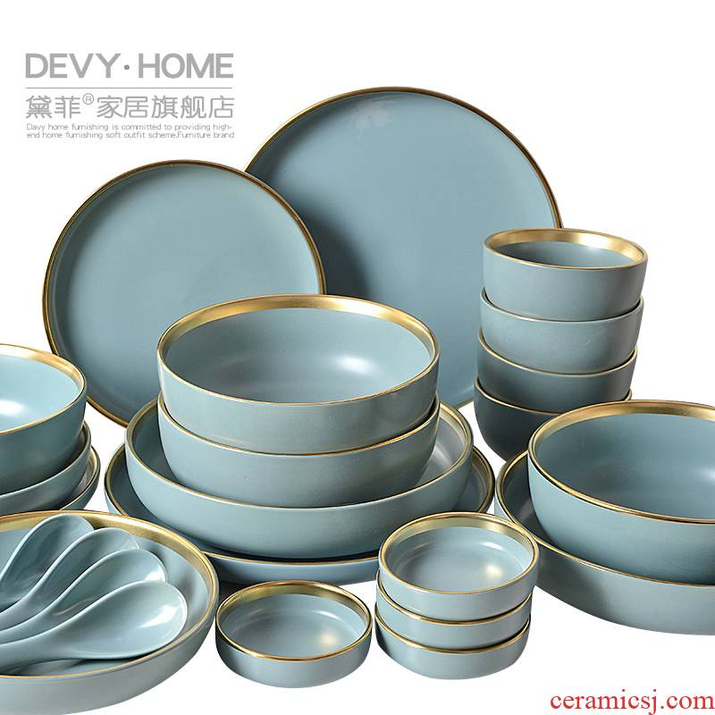 Light European - style key-2 luxury Jin Bianchun color ceramic 0 soup can taste the west tableware home eat rice bowl dish suits for