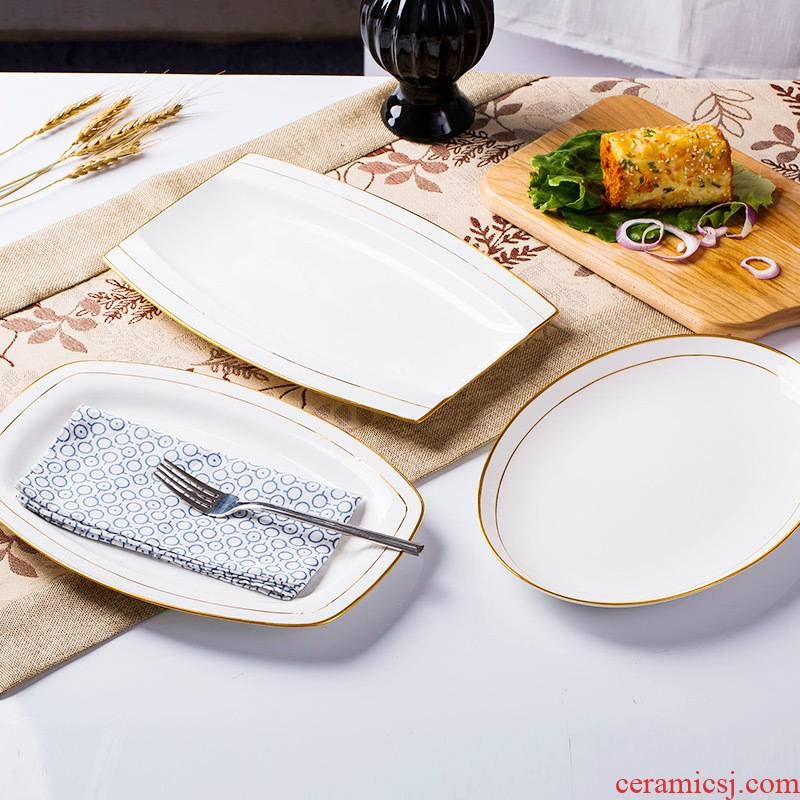 Up Phnom penh 12 inch square fish plate of jingdezhen porcelain paint by hand ipads hotel put head square pad western dishes
