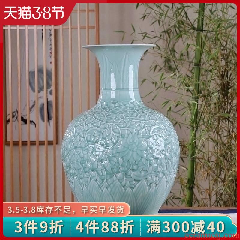 Jingdezhen ceramic floor big vase furnishing articles shadow carving celadon flower arranging device home sitting room hotel decoration process