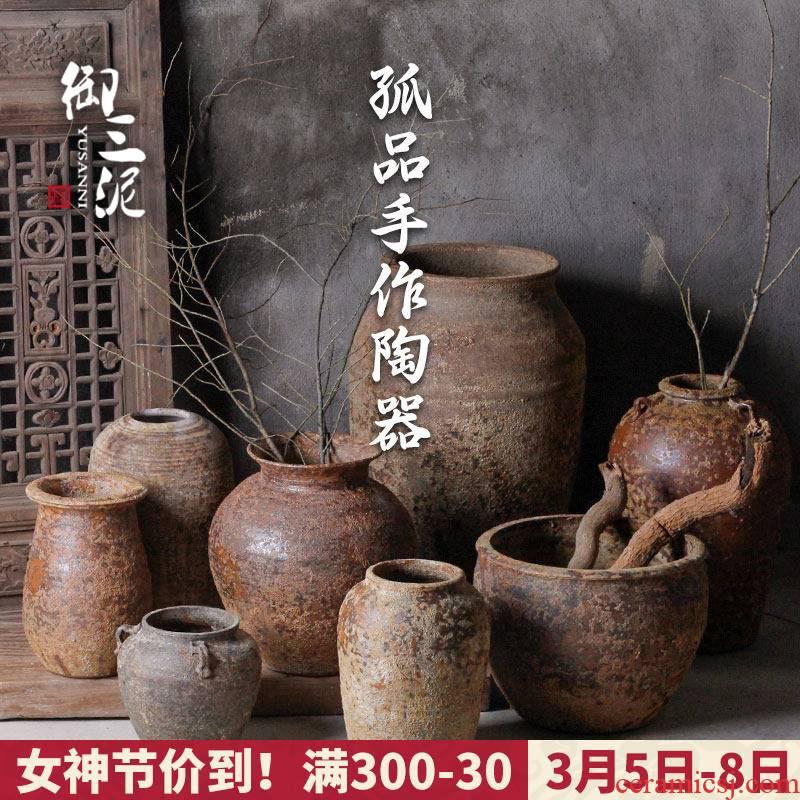 Manual coarse TaoHua device do old Japanese teahouse zen imitation pottery unearthed from jingdezhen ceramic vase flowerpot set