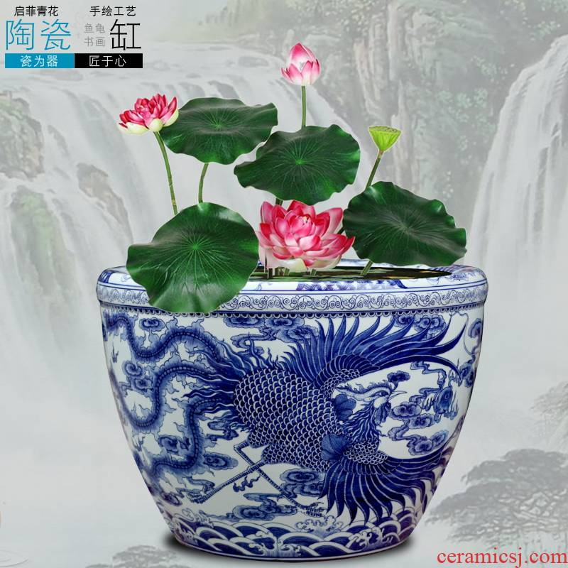 Jingdezhen porcelain VAT blue and white porcelain ceramic aquarium longfeng brocade carp cylinder lotus hotel backyard furnishing articles furnishing articles
