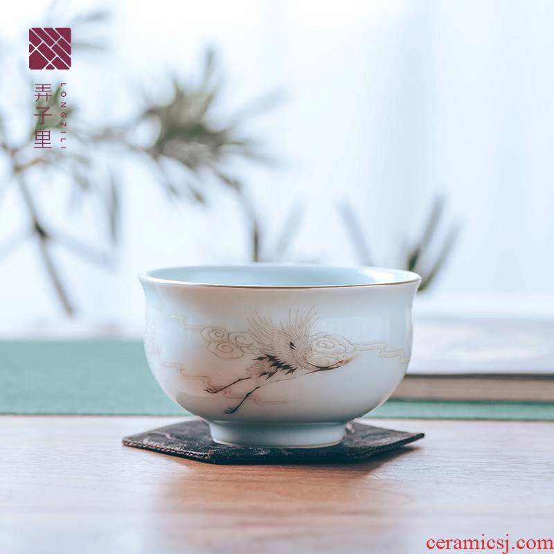 Get the child masters cup a single cup of jingdezhen ceramic cups all hand in hand cranes meditation. A cup of tea
