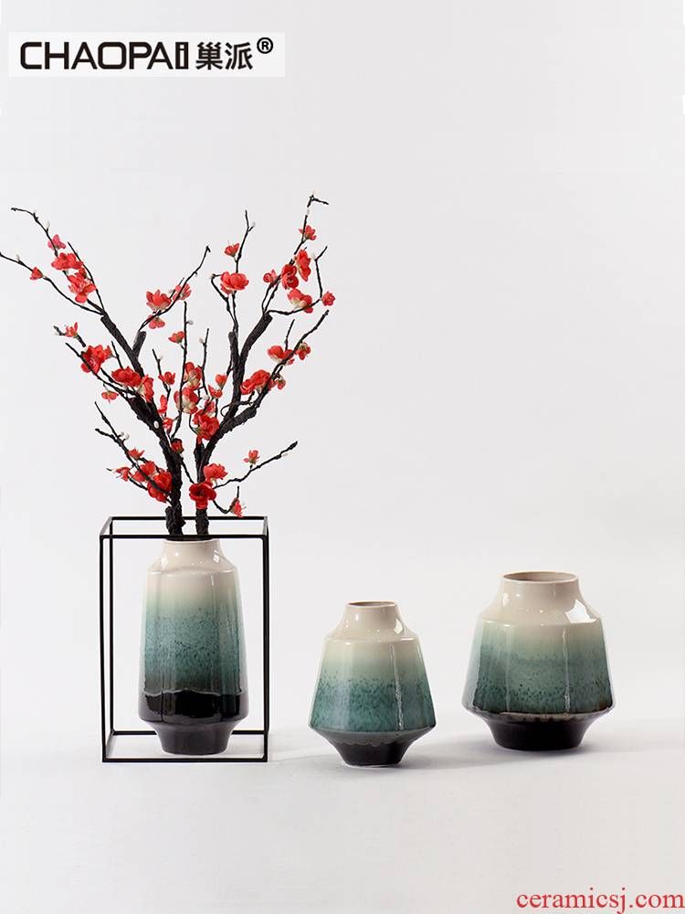 Name Plum blossom put put vase is placed between example of new Chinese style living room TV cabinet ceramic flower implement green porch soft decoration