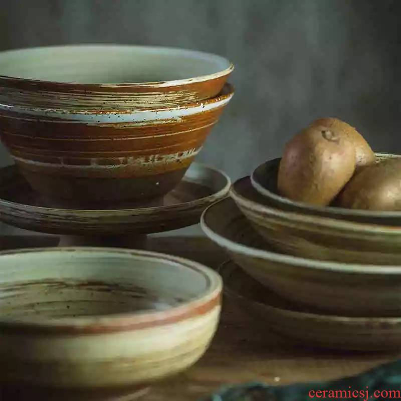 Guber jingdezhen manual coarse pottery dishes ceramic creative home stay facility retro bowl bowl rainbow such as bowl soup plate deep dish
