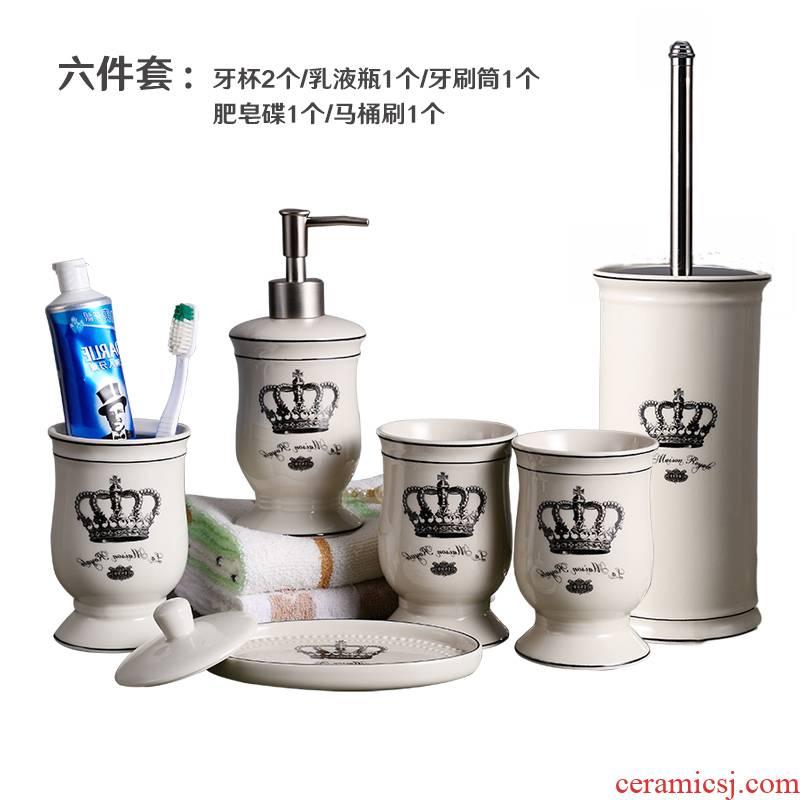 Ins set bath wash gargle suit bathroom toilet five Nordic European ceramic cup brushing your teeth, gargle