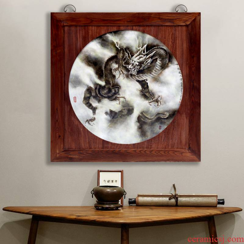 Jingdezhen ceramic hand - made dragon pattern porcelain plate painting the living room a study hang a picture to a housewarming gift mural decoration porch
