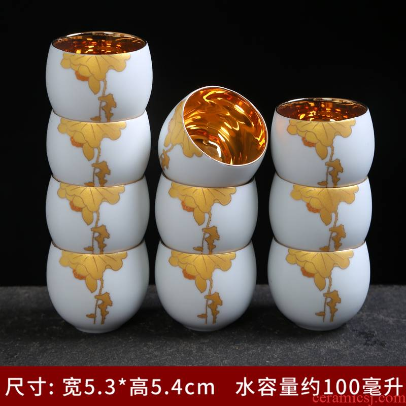 White porcelain enamel see colour yellow marigold kung fu tea cups and gold jingdezhen ceramic sample tea cup single cup home purple sand tea taking