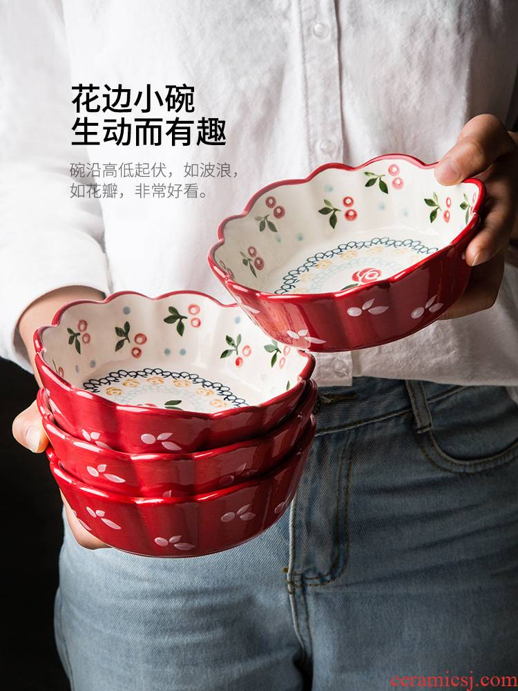 Modern housewives ceramic cherry to use creative lovely salad bowl of cereal for breakfast to use.net red tableware household fruit bowl