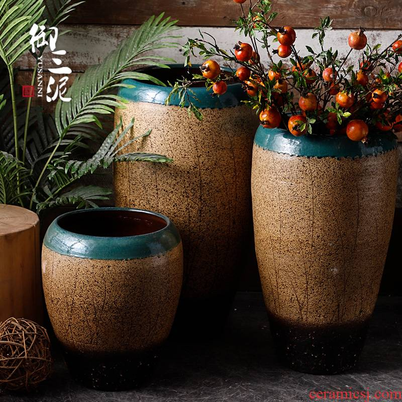 Jingdezhen ceramic of large vases, dried flower decoration flower arranging furnishing articles and heavily Chinese style restoring ancient ways pottery porcelain flowerpot