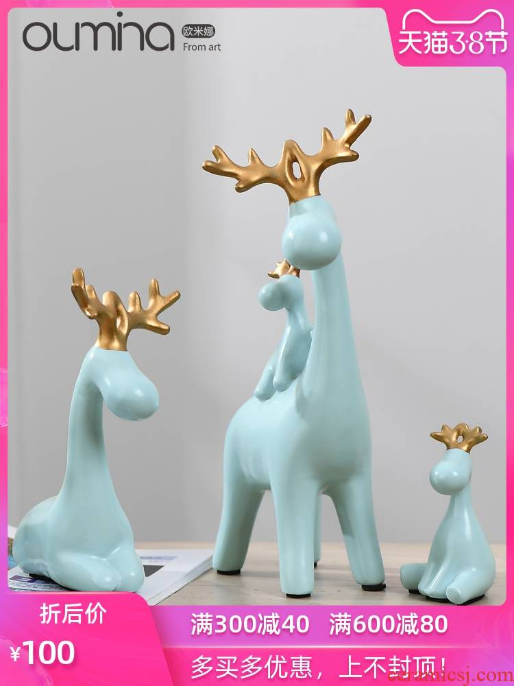 The mina ceramic resin furnishing articles sitting room ark, fawn a home New Year 's day New Year ornament adornment