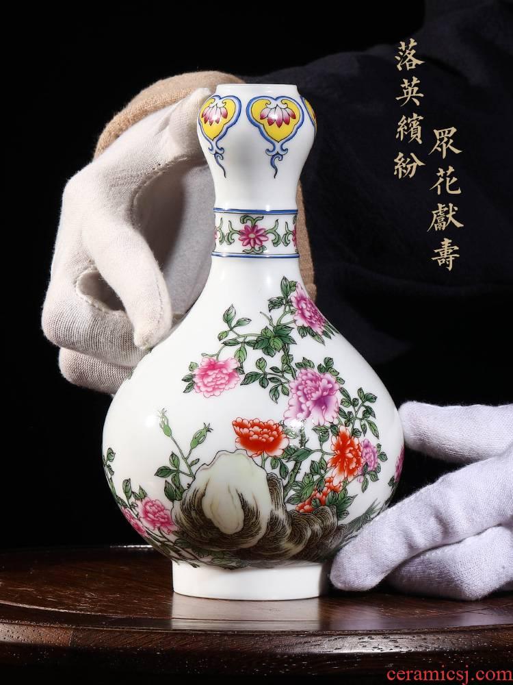 Jia lage jingdezhen porcelain colored enamel flowers garlic furnishing articles YangShiQi hand - made qianlong com.lowagie.text.paragraph bottles of home decoration