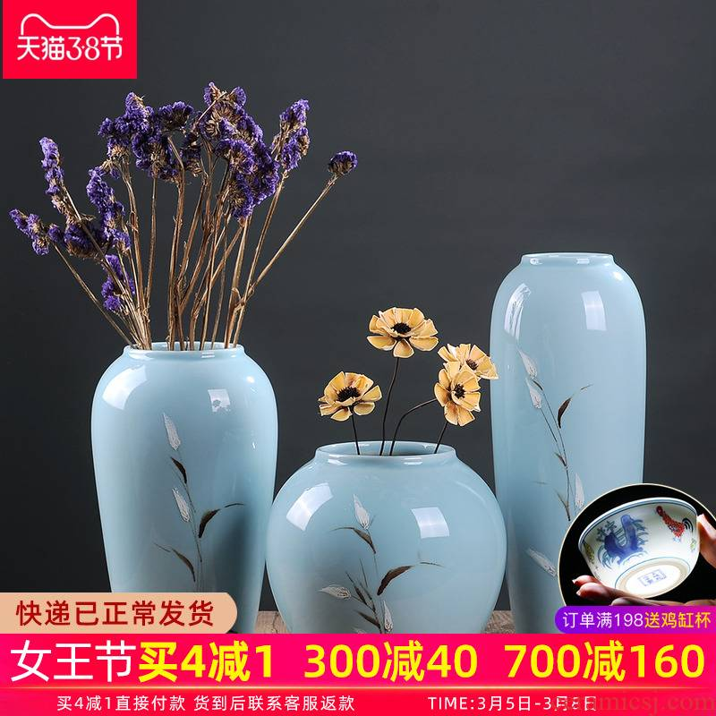 Jingdezhen dry flower vases, ceramic furnishing articles flower arranging Chinese I and contracted creative home sitting room adornment porcelain