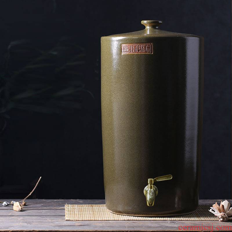 Jars of jingdezhen ceramic cylinder tank 20-40 kg jar ceramic tea bucket cylinder oil seal