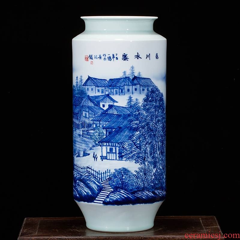 Jingdezhen ceramics landscape hand - made vases, flower arranging furnishing articles study of new Chinese style household act the role ofing is tasted sitting room a gift