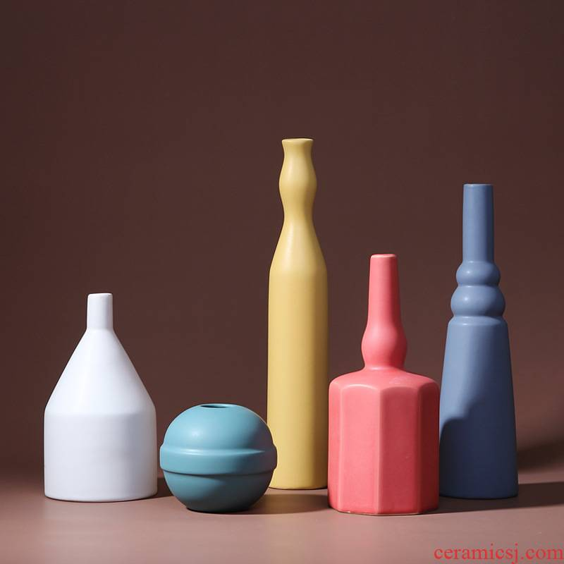 Morandi furnishing articles Nordic contracted sitting room color ceramic vase dried flowers flower arrangement designer matt ins ornaments