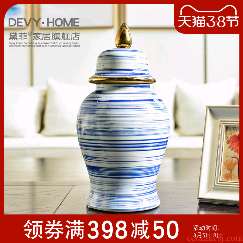 Jingdezhen modern new Chinese blue and white porcelain, general TV ark can of the sitting room porch decoration vase furnishing articles