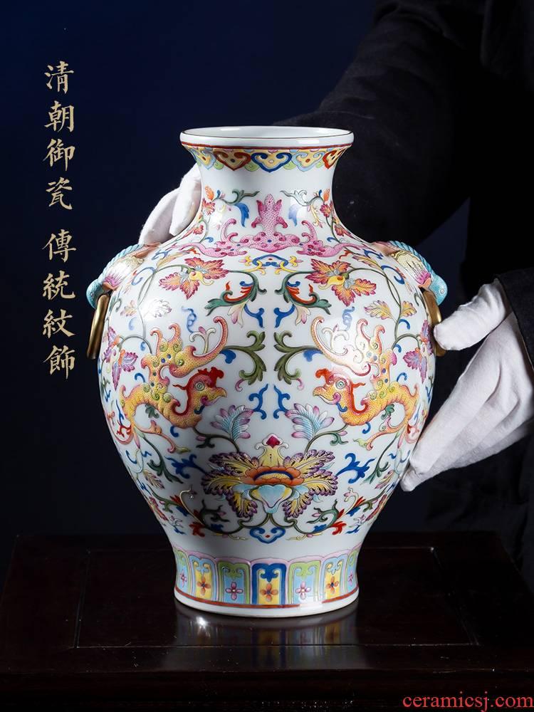 Jia lage jingdezhen ceramic vase YangShiQi pastel bound and name lotus flower ears hand - made porcelain furnishing articles