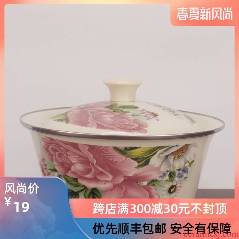 Enamel bowl cover basin bowl with freight insurance 】 【 Enamel porcelain pot induction cooker flame restoring ancient ways with hot oil filling