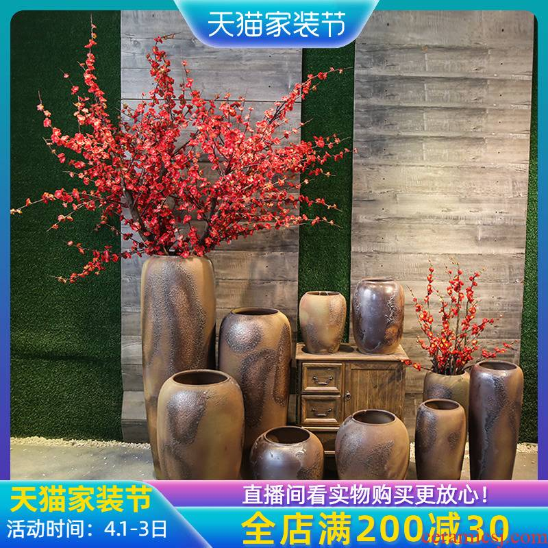 Jingdezhen coarse pottery pottery vase restoring ancient ways furnishing articles hotel villa decoration floor between example floral suit furnishing articles