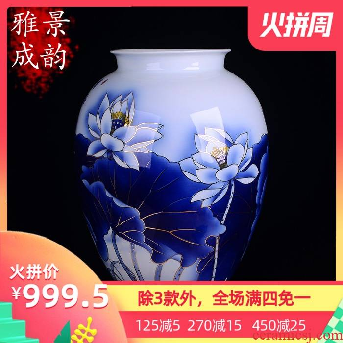 Hand the see colour blue and white porcelain of jingdezhen chinaware lotus flower vase sitting room, study Chinese style adornment furnishing articles