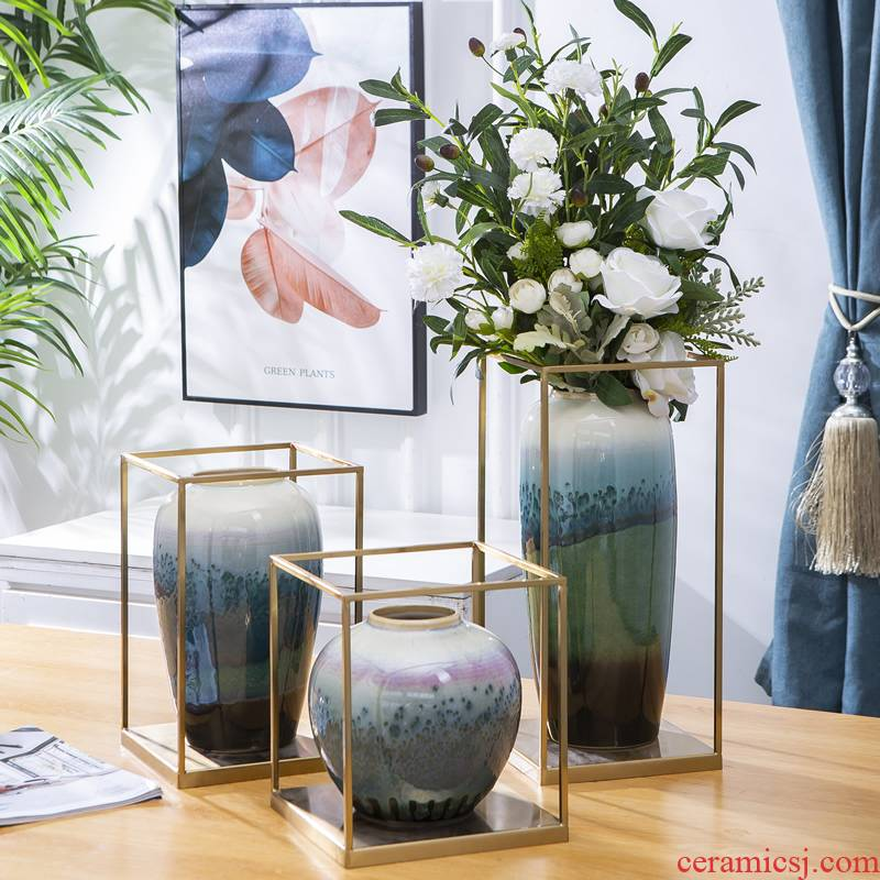 Jingdezhen ceramic vase furnishing articles northern American sitting room light flower arranging new Chinese style key-2 luxury dried flowers decorate the table porcelain