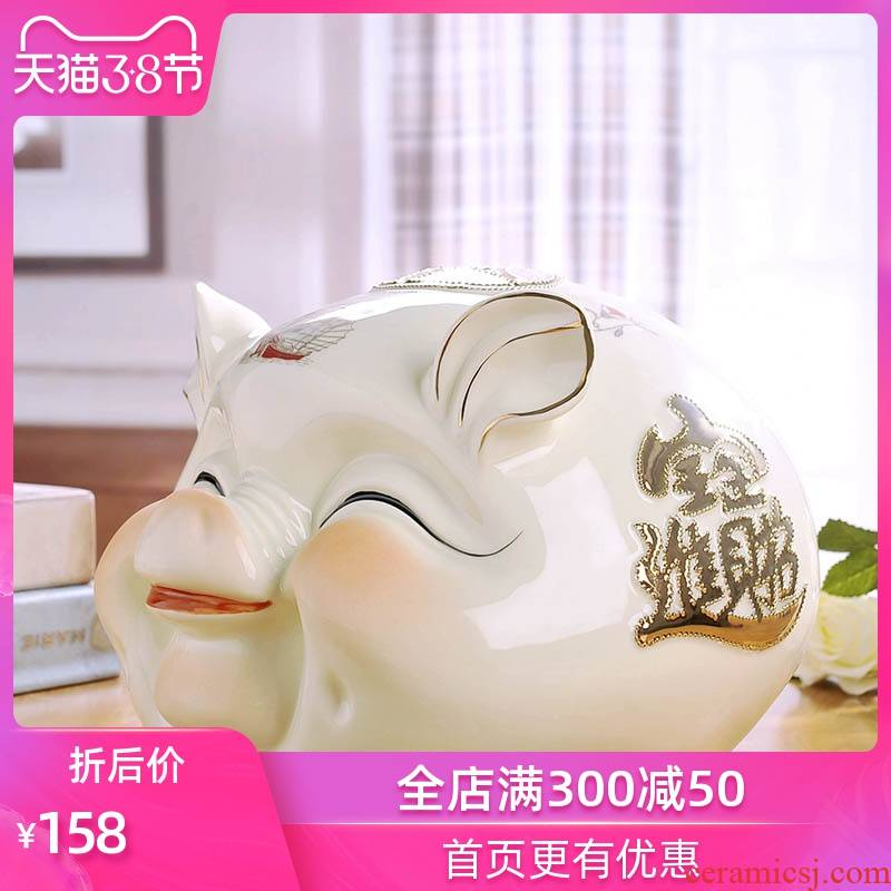 Creative lucky furnishing articles and adults with a home super - sized high - capacity ceramic pig COINS piggy bank savings