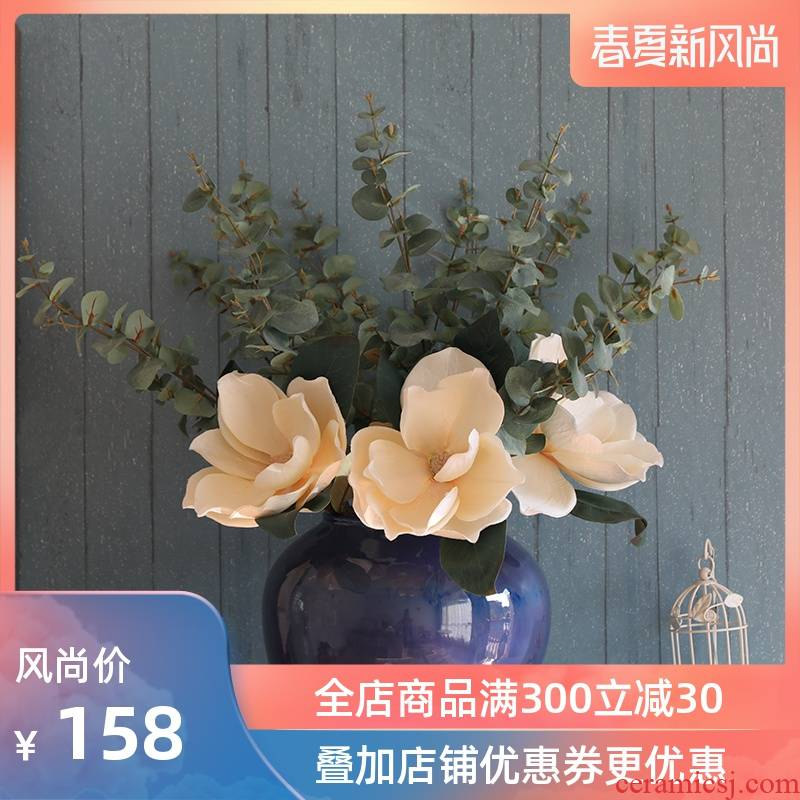Japanese contracted and I ceramics vase furnishing articles flower arrangement sitting room ground POTS household adornment blue hotel