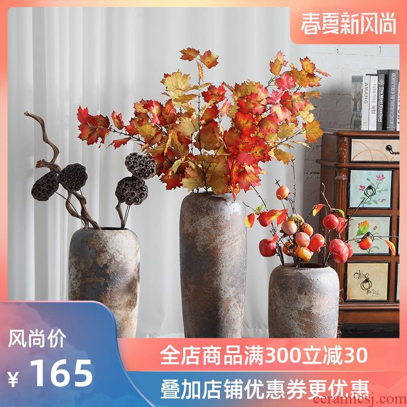 Super - large jingdezhen ground vase Chinese style restoring ancient ways is plugged into the dried coarse pottery sitting room hotel villa do old ceramic furnishing articles